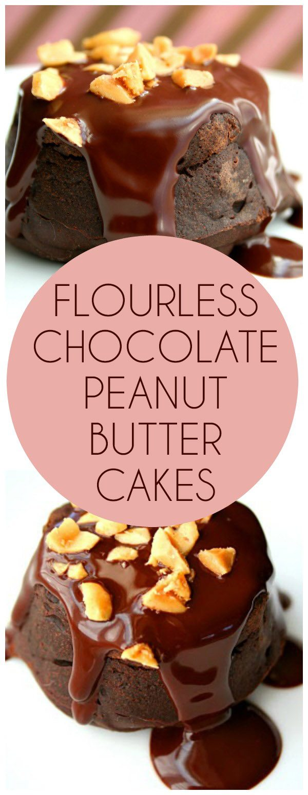 Low carb Flourless Chocolate Cakes with Chocolate Peanut Butter Ganache