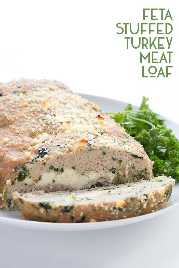 Low carb turkey meatloaf with feta and spinach on a plate