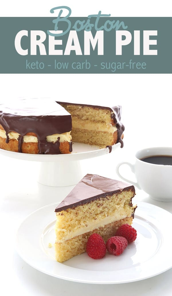 Boston Cream Pie gets a keto makeover! I recently updated this low carb recipe and now it's even better than before, with fewer carbs. Tender almond flour cake filled with sugar free vanilla pastry cream and a rich low carb chocolate glaze. #lowcarb #ketorecipes #ketodessert #bostoncreampie #almondflour #chocolateganache #lowcarbdiet #sugarfree
