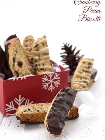 Keto Almond Flour Biscotti in a christmas gift box