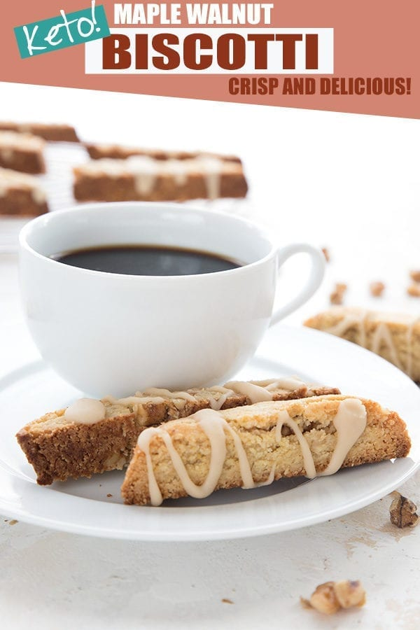 Keto maple walnut biscotti with a cup of coffee