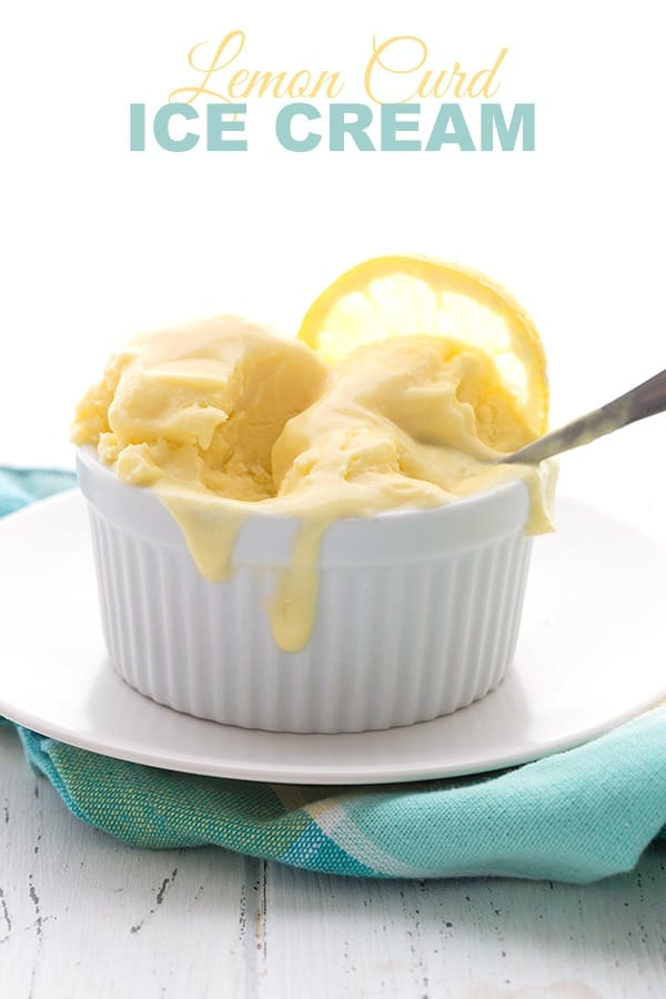 Low Carb Lemon Curd Ice Cream in a bowl on a plaid napkin