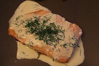 Roasted Salmon in Creamy Dill Sauce