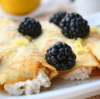 Coconut Flour Crepes with Lemon Ricotta and Blackberries (Low Carb and Gluten Free)