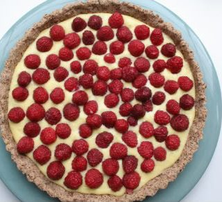Lime Curd Tart with Raspberries (Low Carb and Gluten Free)