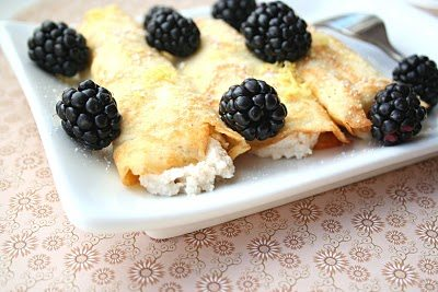 coconut flour crepes topped with fresh blackberries