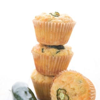 Keto Cheddar Jalapeno Muffins in a stack