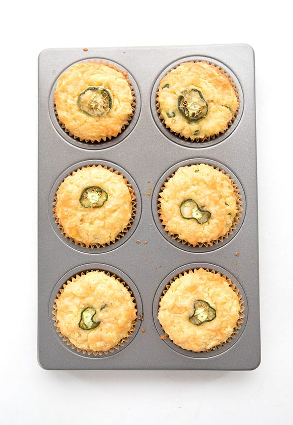 Low Carb Cheddar Jalapeno Muffins top down in a muffin pan