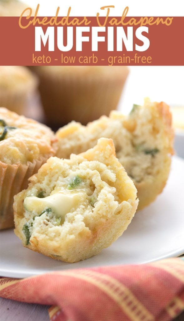 Close up of keto cheddar jalapeno muffins