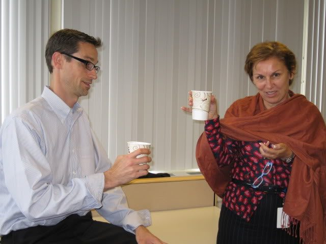 My husband and a coworker enjoying their mochas!