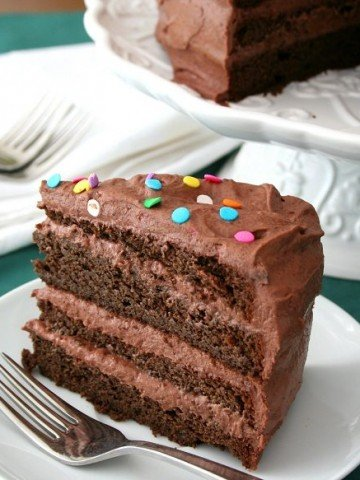 slice of gluten-free chocolate cake with chocolate sour cream frosting and sprinkles on top