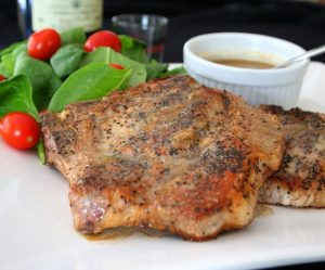 Low Carb Pork Chops with Whiskey Cream Sauce