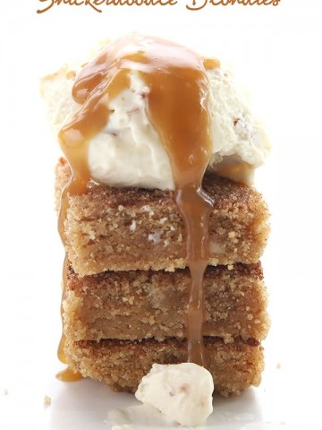 Keto Snickerdoodle Blondies with vanilla ice cream and caramel sauce