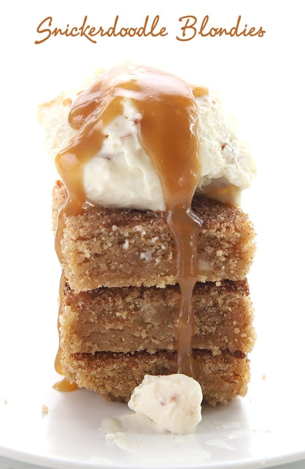 Keto Snickerdoodle Blondies with vanilla ice cream and caramel sauce