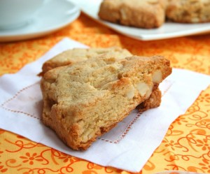 Low carb white chocolate Macadamia nut Scones