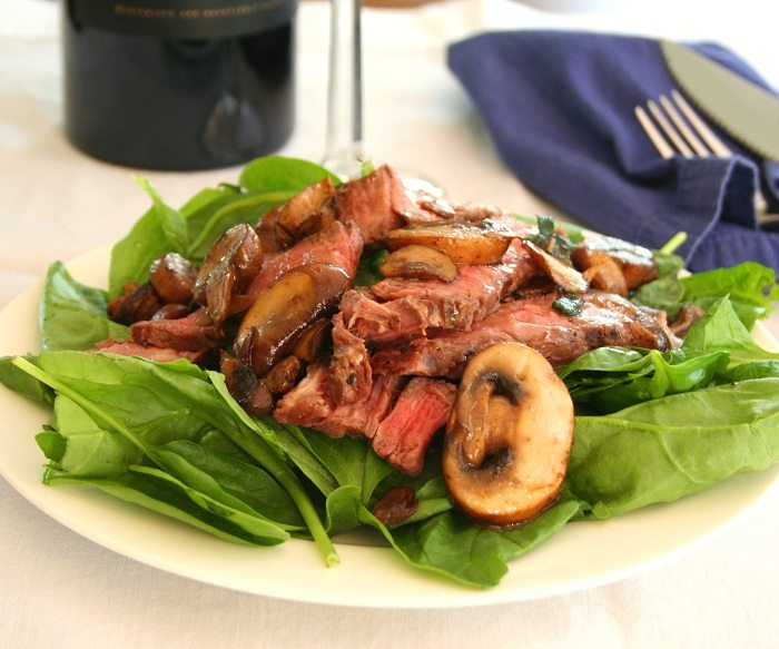 Steak Salad with Mushroom Brown Butter