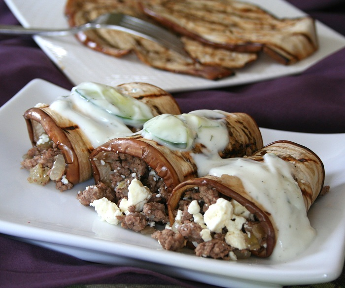 Eggplant Rolls with Lamb