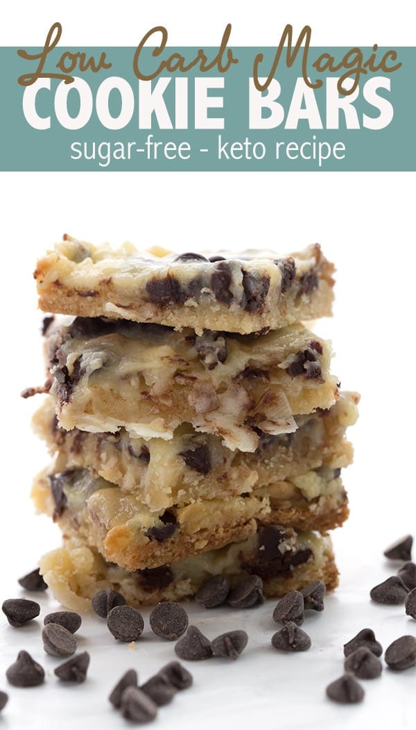 The ultimate low carb Magic Cookie Bars recipe. Made with sugar-free sweetened condensed milk, they are so ooey and gooey and only 5g total carbs! #ketorecipes #magiccookiebars #ketodesserts #lowcarbhighfat #sugarfree