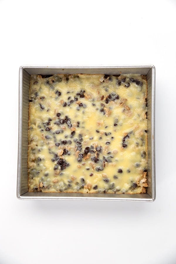 Keto Magic Cookie Bars in a pan
