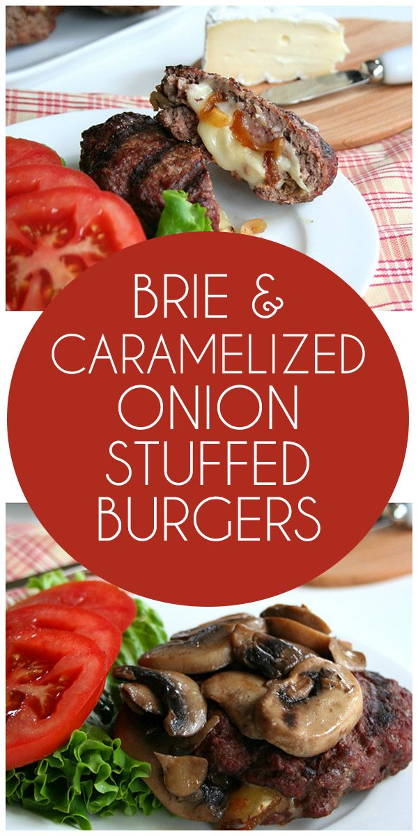 Low carb keto burger recipe stuffed with caramelized onions and brie