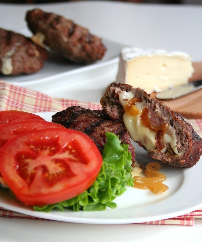 Low Carb Brie and Caramelized Onion Stuffed Burger