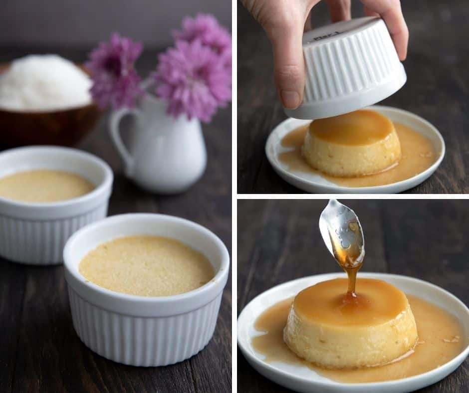 A collage showing keto flan in ramekins, with the ramekin being lifted off and the caramel sauce pouring over.