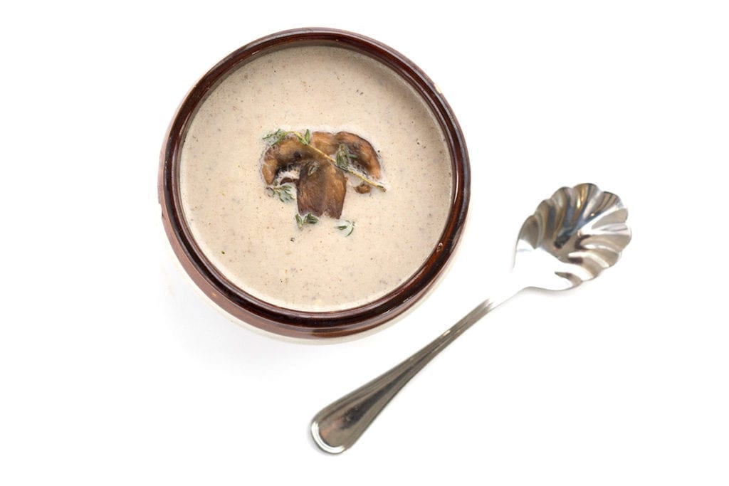Low carb Cream of Mushroom Soup - overhead shot with a spoon