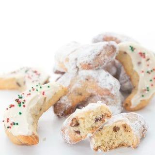 Keto Pecan Crescent Cookies in a pile