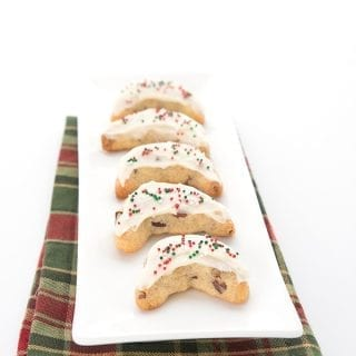 Pecan Crescent Cookies on a white plate