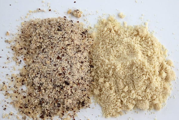 Side by side comparison of almond meal and almond flour