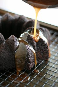 Chocolate Bundt Cake with Stout Caramel Sauce