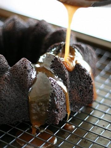 Chocolate Bundt Cake with Stout Caramel Sauce