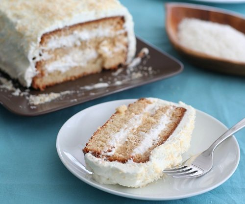 Low Carb Three Layer Coconut Cake