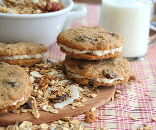 Gluten-free oatmeal cream pies made with muesli