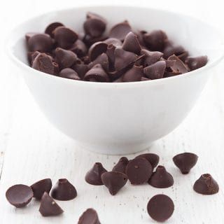 Homemade sugar-free chocolate chips in a small white bowl