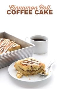 Low Carb Cinnamon Roll Coffee Cake on a plate with the pan behind