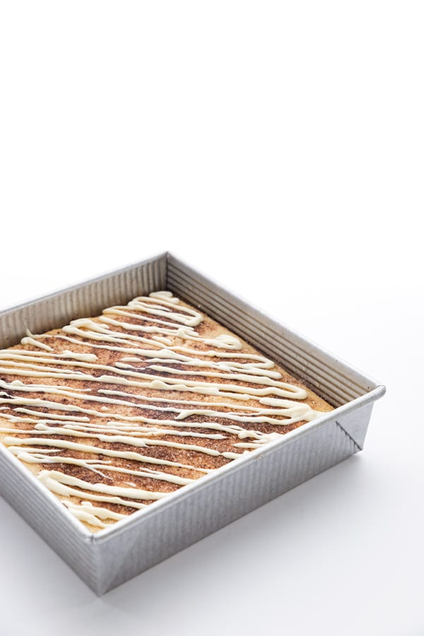 Keto grain-free cinnamon roll coffee cake in a pan