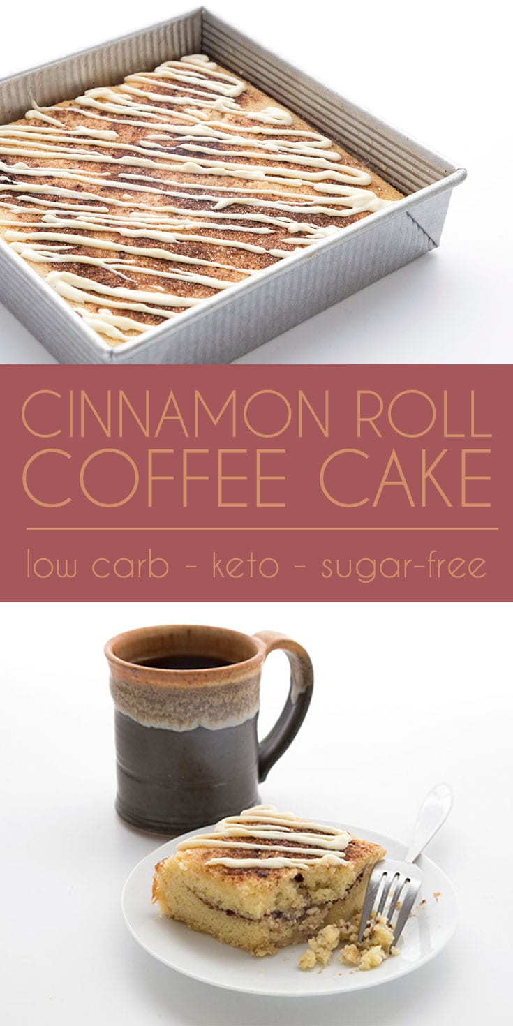 Craving cinnamon rolls on your keto diet? This low carb coffee cake is sure to please! Tender and delicious and so easy to make. Now with a how-to video! #keto #lowcarb #ketodiet #sugarfree #cinnamonrolls #coffeecake