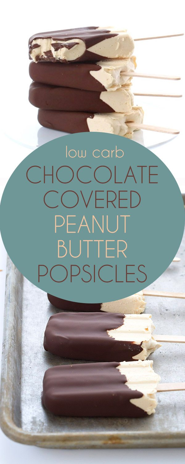 This popular low carb dessert gets a brand new update and a how-to video! Delicious creamy peanut butter ice cream with a crisp sugar-free chocolate shell. #lowcarb #lowcarbrecipes #ketorecipes #ketodessert #popsicles #sugarfree