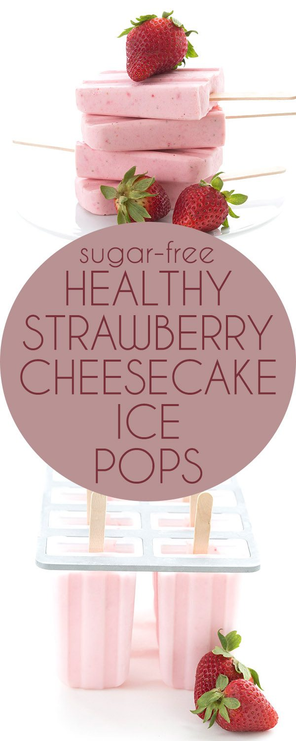 Healthy, easy, and delicious! These low carb strawberry cheesecake pops are the perfect keto treat on a warm day. #lowcarb #ketorecipes #ketodessert #cheesecake #popsicles