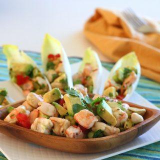 Shrimp and Avocado Ceviche in Endive