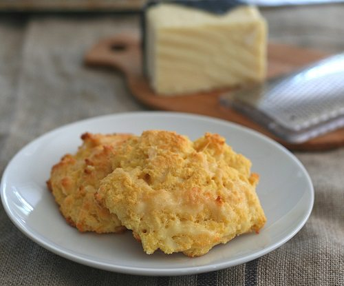 Cheesy Keto Drop Biscuits on a plate