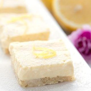 Close up photo of keto cheesecake bars.