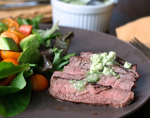 Grilled Steak with Garlic Cilantro Butter