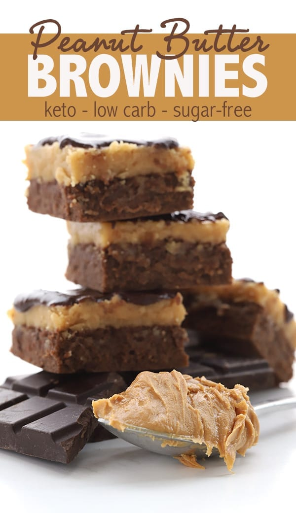 These keto peanut butter brownies are simply magical. Also known as Buckeye Brownies, the fudgy low carb brownie base is topped with a creamy peanut butter fudge and a layer of sugar free chocolate ganache! #keto #ketodiet #lowcarbrecipes #ketobrownies #ketodessert #sugarfreerecipes #buckeyebrownies