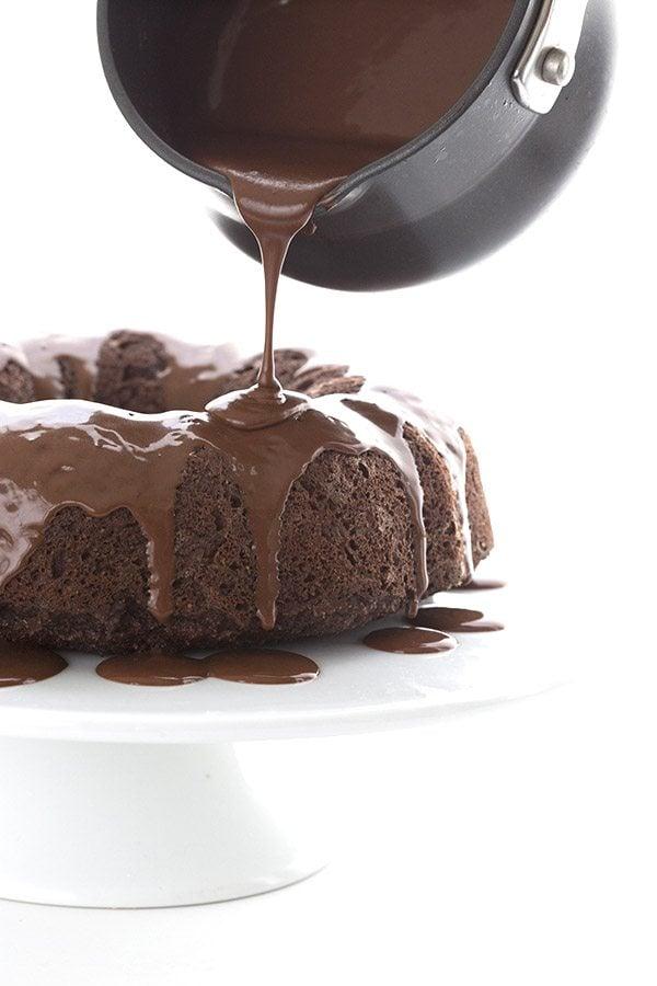 Sugar-free chocolate glaze on a grain-free low carb chocolate bundt cake