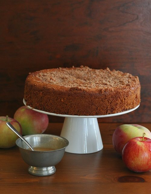 Caramel Apple Coffee Cake with sugar-free caramel sauce