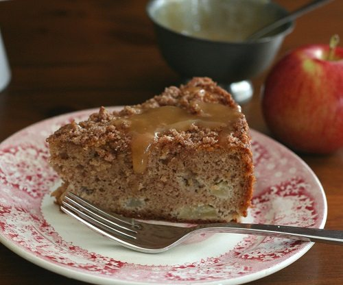 Low Carb Caramel Apple Coffee Cake slice