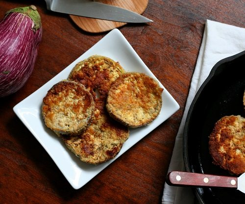 Garlic Parmesan Fried Eggplant Slices