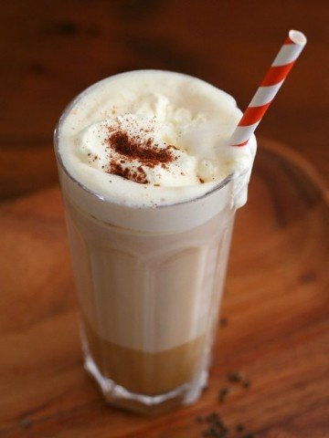 Low Carb Pumpkin Chai Latte with straw